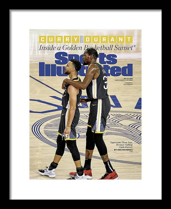 Magazine Cover Framed Print featuring the photograph Curry Durant Inside A Golden Basketball Sunset Sports Illustrated Cover by Sports Illustrated