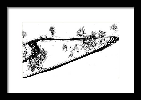 Curve Framed Print featuring the digital art Curved Light Trails by Martin Pickard
