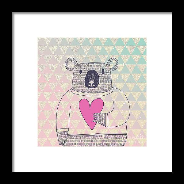 Friendly Framed Print featuring the digital art Cute Koala Bear In Hipster Style. Funny by Smilewithjul