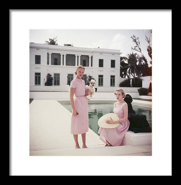 Straw Hat Framed Print featuring the photograph C.z. And Guest by Slim Aarons