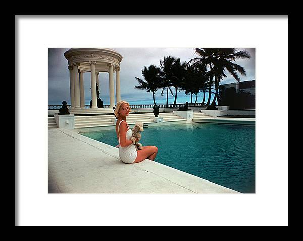 Pets Framed Print featuring the photograph Cz By The Pool by Slim Aarons