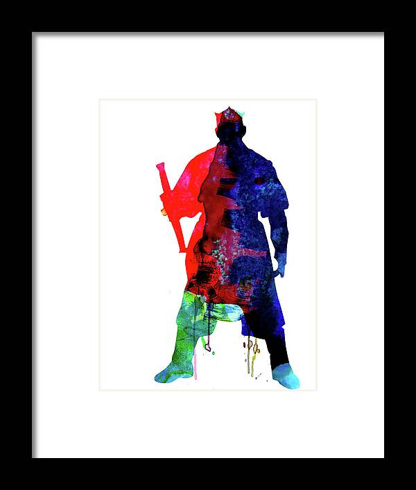 D Maul Framed Print featuring the mixed media D Maul Watercolor 1 by Naxart Studio