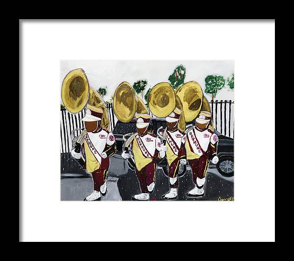 Bethune Cookman University Framed Print featuring the painting Da Rock of The Pride by Sonye Locksmith