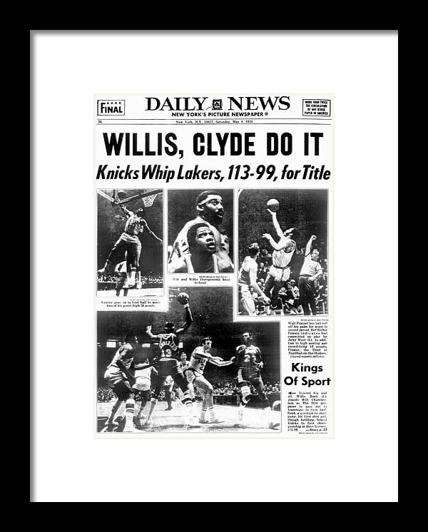 Nba Pro Basketball Framed Print featuring the photograph Daily News Back Page Dated May 9, 1970 by New York Daily News Archive