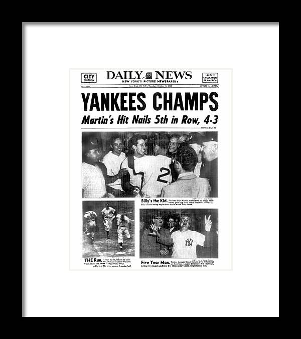 American League Baseball Framed Print featuring the photograph Daily News Back Page Dated Oct. 6, 1953 by New York Daily News Archive