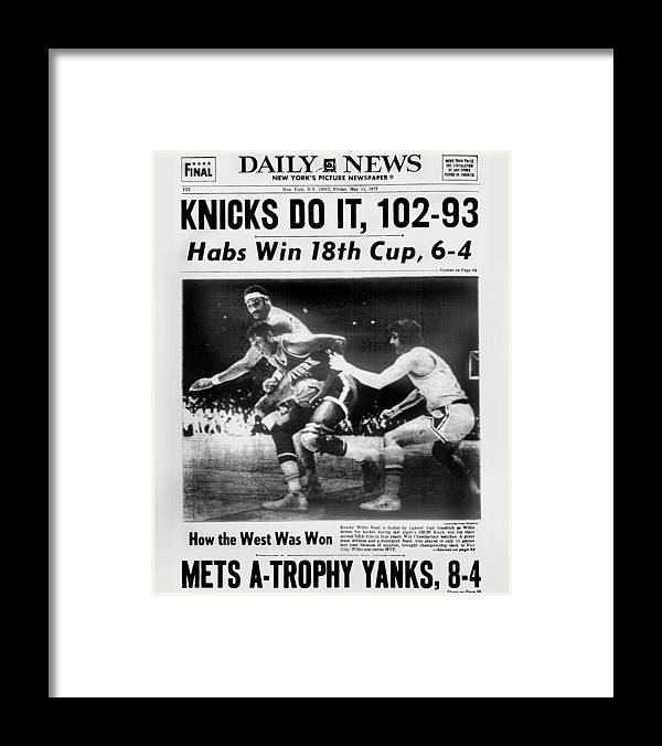 Playoffs Framed Print featuring the photograph Daily News Back Page May 11, 1973 by New York Daily News Archive