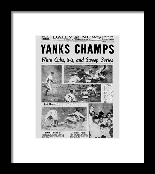 American League Baseball Framed Print featuring the photograph Daily News Front Page October 10, 1938 by New York Daily News Archive