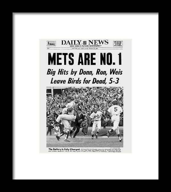 American League Baseball Framed Print featuring the photograph Daily News Front Page October 17, 1969 by New York Daily News Archive