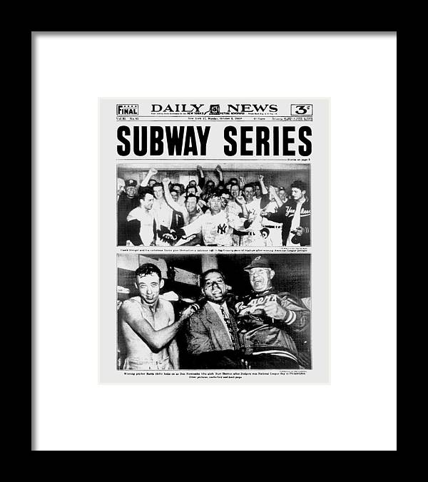 American League Baseball Framed Print featuring the photograph Daily News Front Page October 3, 1948 by New York Daily News Archive