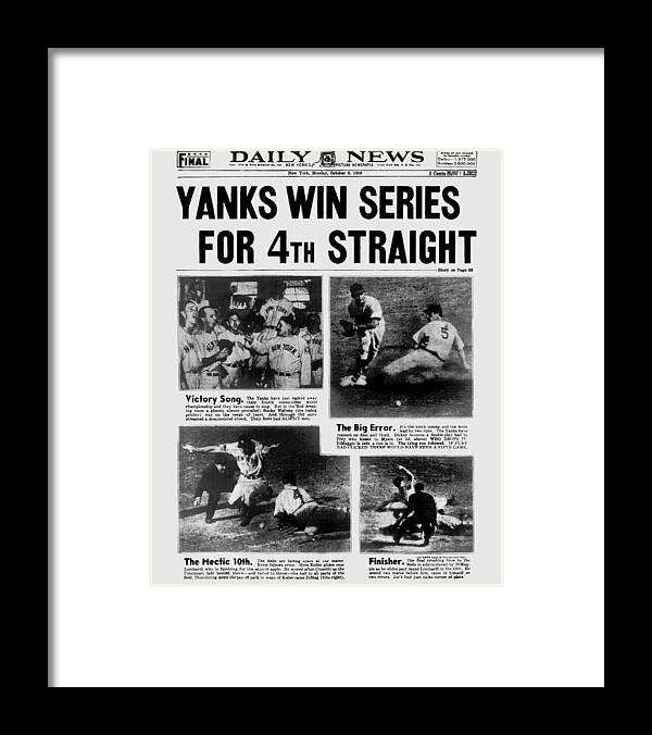 American League Baseball Framed Print featuring the photograph Daily News Front Page October 9, 1939 by New York Daily News Archive