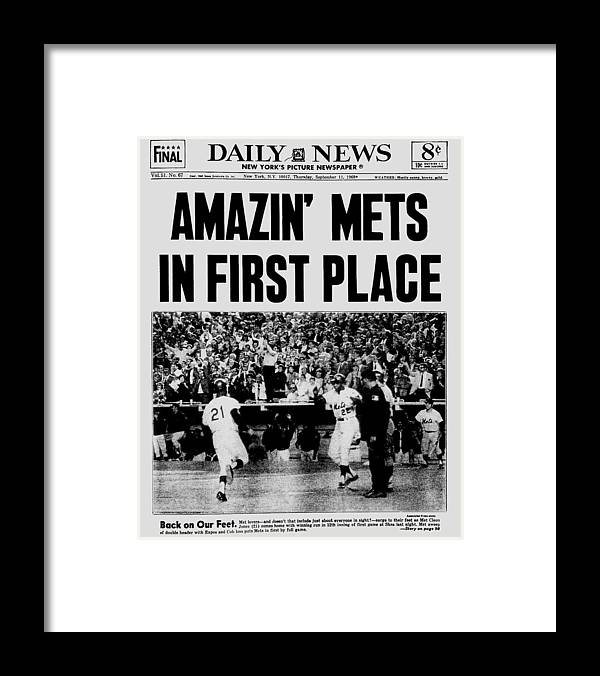 American League Baseball Framed Print featuring the photograph Daily News. Front Page. September, 11 by New York Daily News Archive