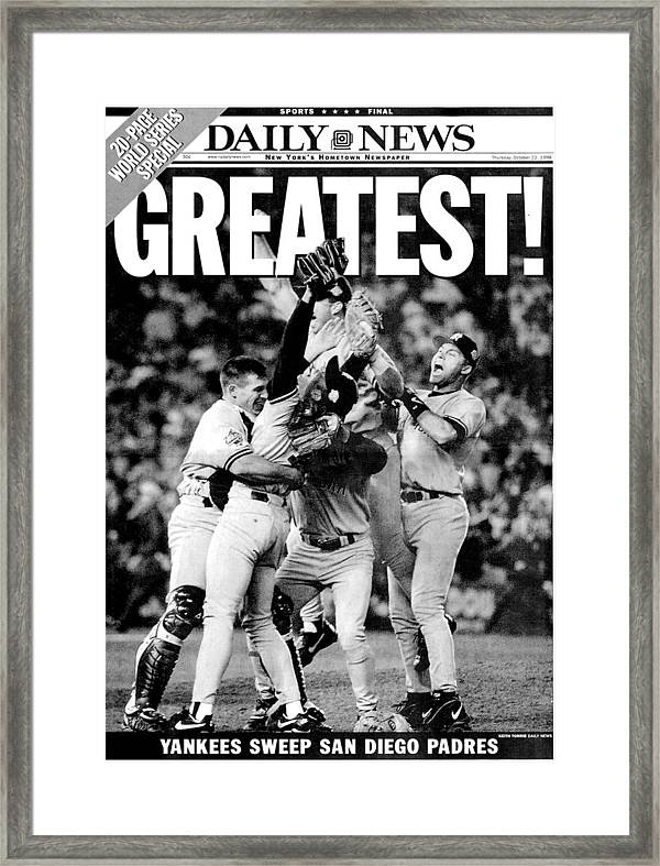 American League Baseball Framed Print Featuring The Photograph Daily News Front Page Wrap Dated Oct By