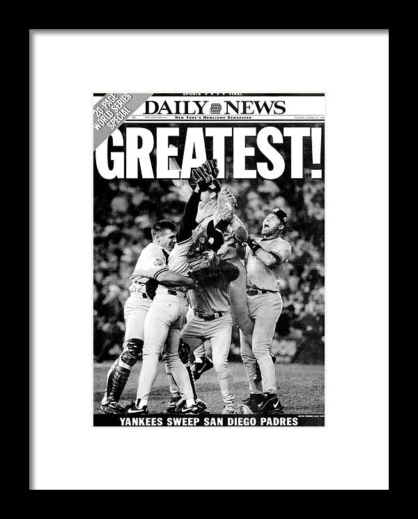 American League Baseball Framed Print featuring the photograph Daily News Front Page Wrap Dated Oct by New York Daily News Archive