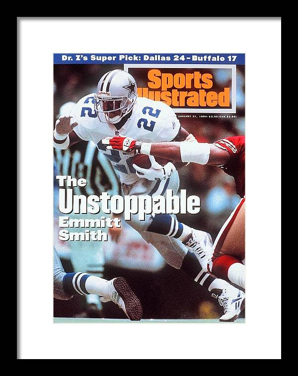 Magazine Cover Framed Print featuring the photograph Dallas Cowboys Emmitt Smith, 1994 Nfc Championship Sports Illustrated Cover by Sports Illustrated