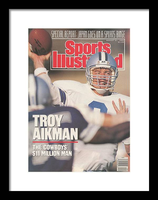 Magazine Cover Framed Print featuring the photograph Dallas Cowboys Qb Troy Aikman... Sports Illustrated Cover by Sports Illustrated