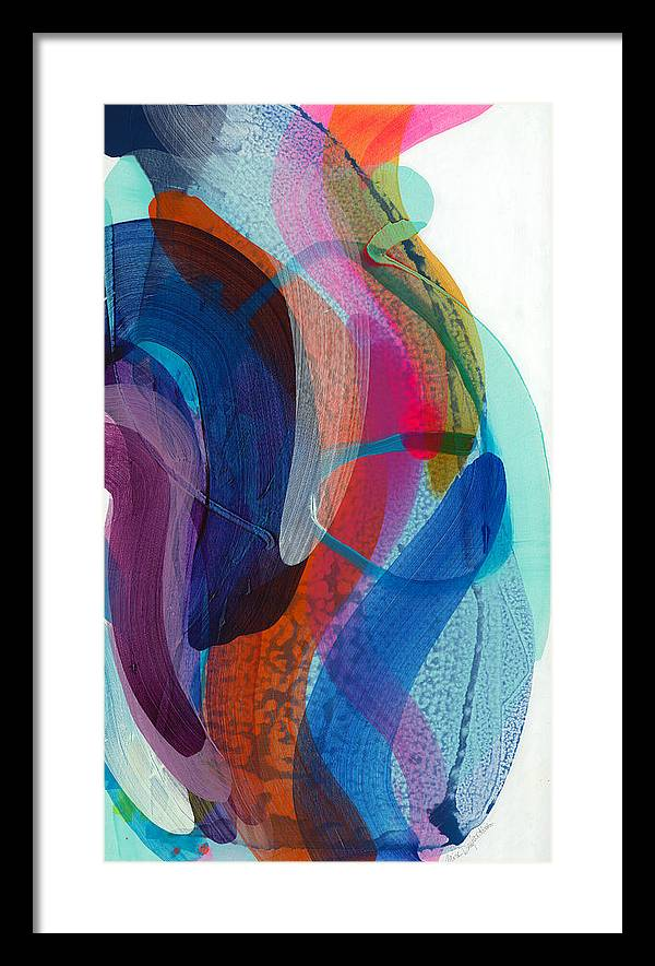 Abstract Framed Print featuring the painting Dancing In The Kitchen by Claire Desjardins