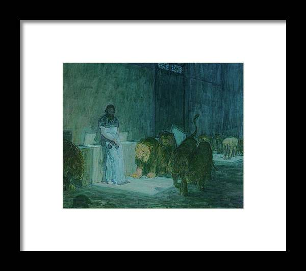 Henry Ossawa Tanner Framed Print featuring the painting Daniel In The Lions' Den, 1918 by Henry Ossawa Tanner