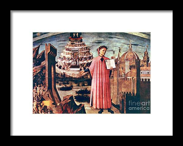 Poetry Framed Print featuring the drawing Dante And His Poem The Divine Comedy by Print Collector