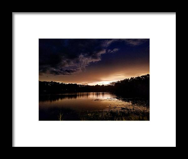 Sunset Framed Print featuring the photograph Dark Reflections by Shena Sanders