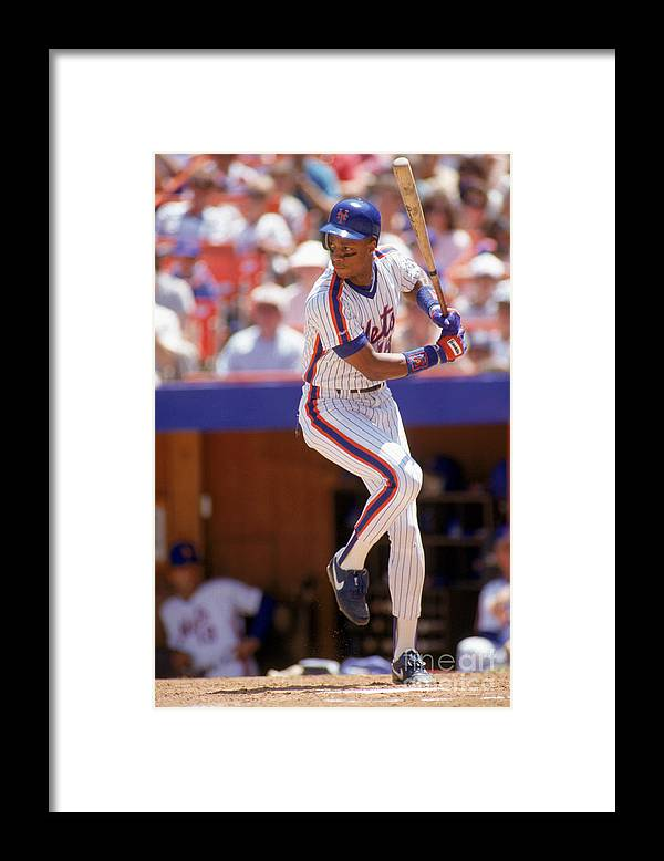 People Framed Print featuring the photograph Darryl Strawberry Swings by Scott Halleran