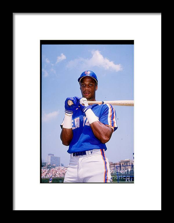 1980-1989 Framed Print featuring the photograph Darryl Strawberry by Tony Inzerillo