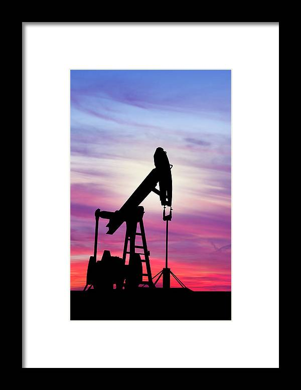 Dawn Framed Print featuring the photograph Dawn Over Gasoline Pump by Grafissimo