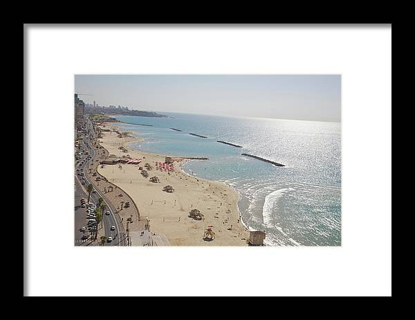 Tranquility Framed Print featuring the photograph Day View Of Tel Aviv Promenade And Beach by Barry Winiker