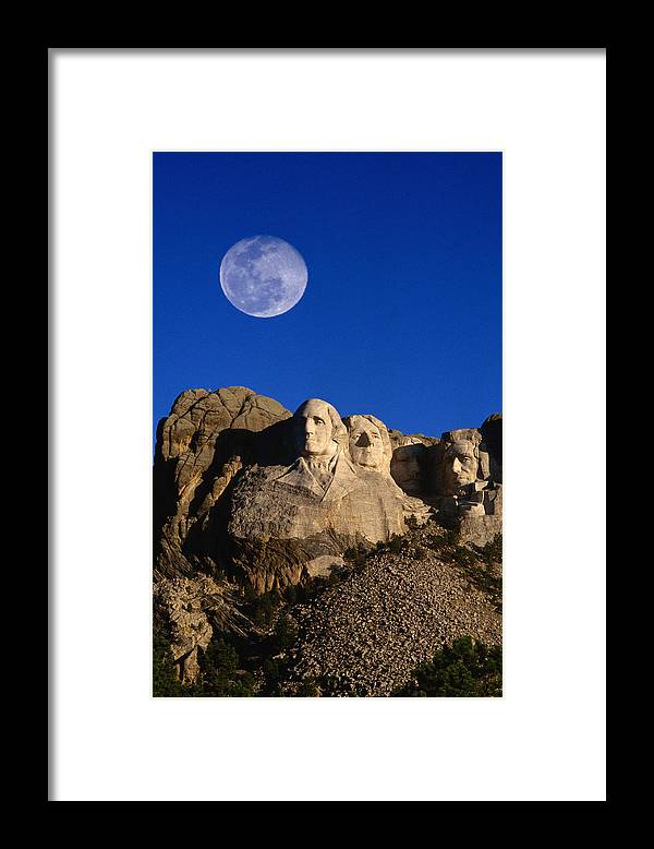 Mt Rushmore National Monument Framed Print featuring the photograph Daytime Moon Above Presidential Faces by Mark Newman