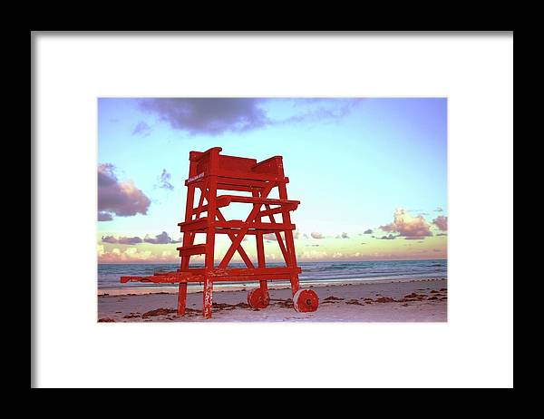 Empty Framed Print featuring the photograph Daytona Beach Lifeguard Stand At by Thomas Damgaard Sabo, Damgaard Photography