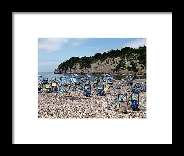 Tranquility Framed Print featuring the photograph Deckchairs At Beer, Devon, Uk 2013 by Nik Taylor