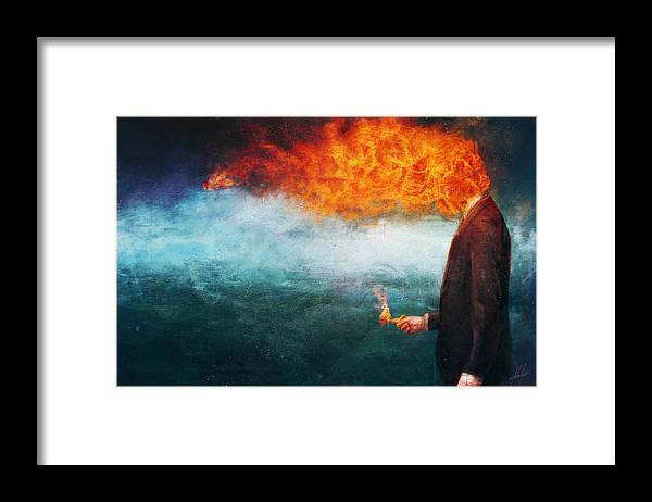 Fire Framed Print featuring the painting Deep by Mario Sanchez Nevado