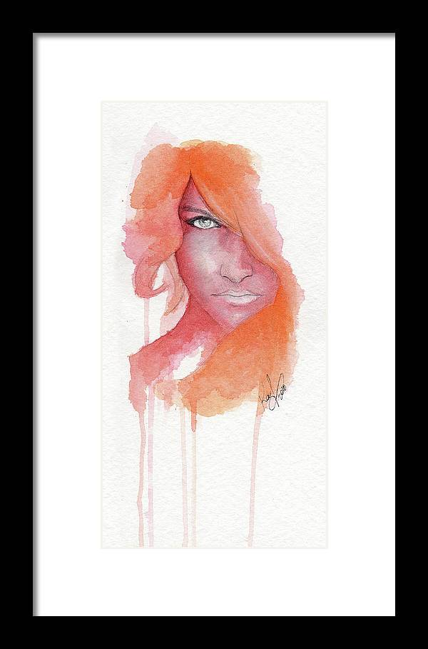 Face Framed Print featuring the painting Deep Orange by Raffaello Saverio Padelletti