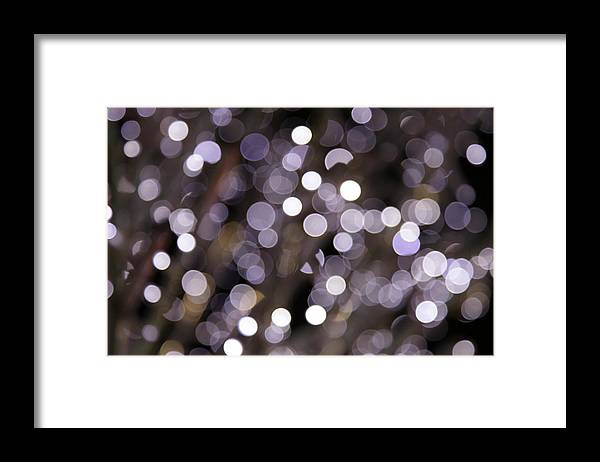 Funky Framed Print featuring the photograph Defocused Purple Light Dots by Sebastian-julian