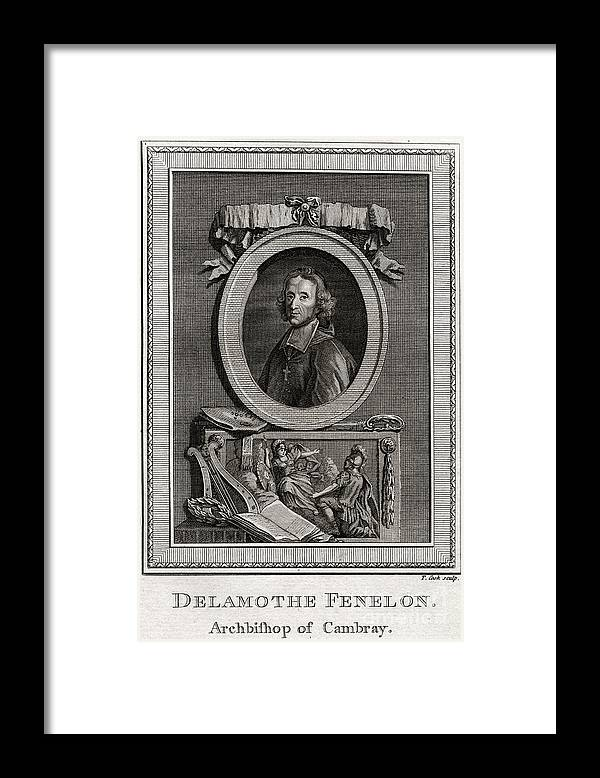 Engraving Framed Print featuring the drawing Delamothe Fenelon, 1777. Artist T Cook by Print Collector