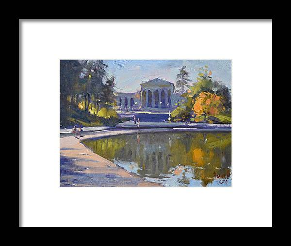 Delaware Park Framed Print featuring the painting Delaware Park Buffalo by Ylli Haruni