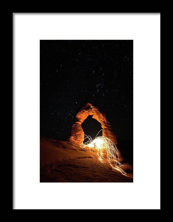 Delicate Arch Framed Print featuring the photograph Delicate Arch Steel Wool by Nathan Bush
