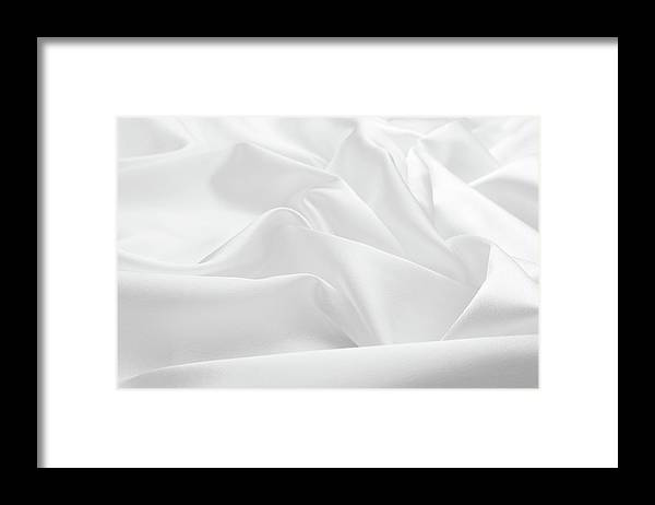 Curve Framed Print featuring the photograph Delicate White Satin Silk Background by Narcisa
