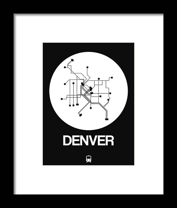 Vacation Framed Print featuring the digital art Denver White Subway Map by Naxart Studio