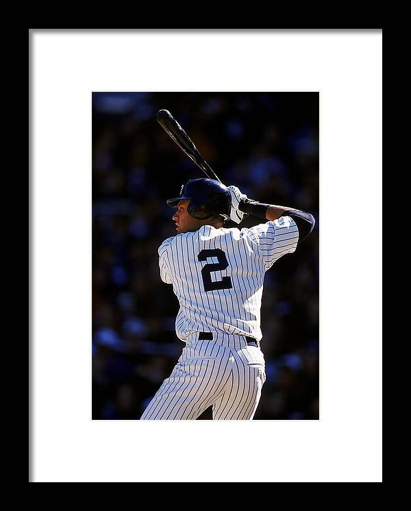 People Framed Print featuring the photograph Derek Jeter 2 by Al Bello