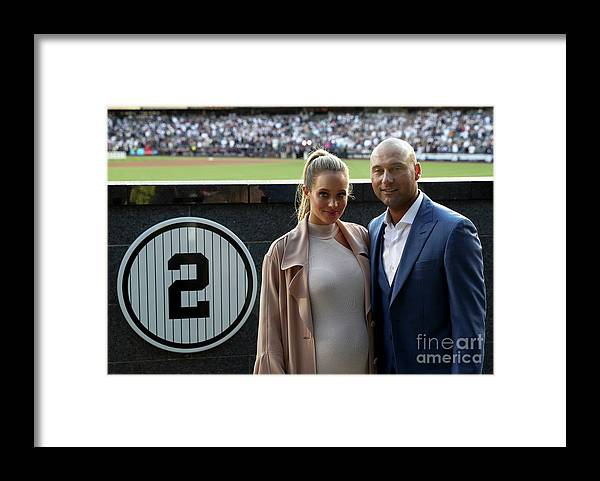People Framed Print featuring the photograph Derek Jeter Ceremony by Elsa