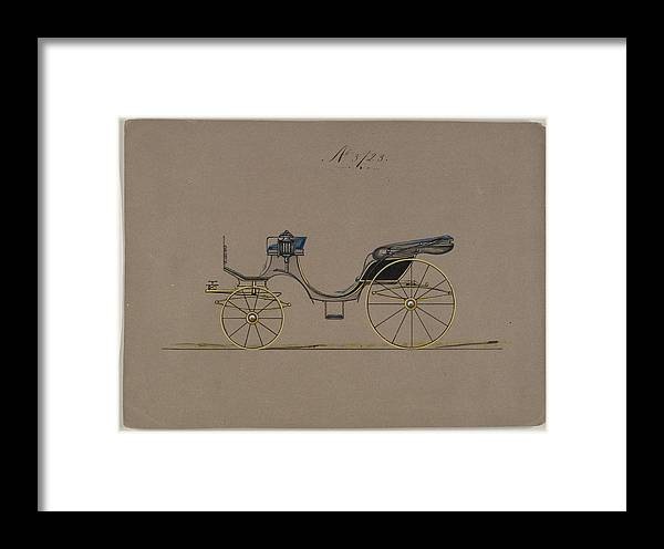 Vintage Framed Print featuring the painting Design For Cabriolet Or Victoria, No. 3723 1881 by MotionAge Designs