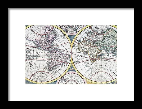 Engraving Framed Print featuring the digital art Detail Copper Engraving Of World Map by Grafissimo