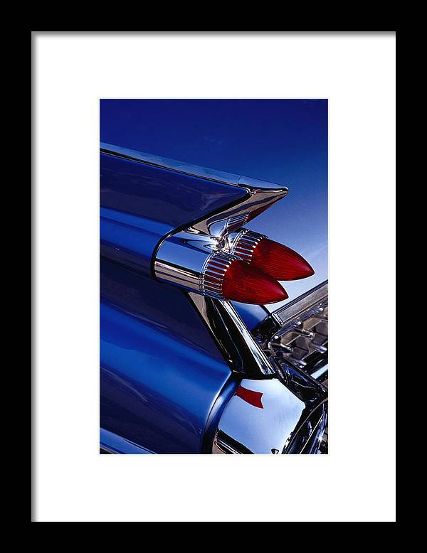 Silver Colored Framed Print featuring the photograph Detail Of An American Cadillac, Eze by Richard I'anson