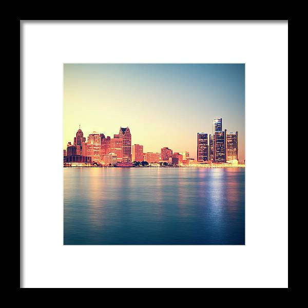 Downtown District Framed Print featuring the photograph Detroit At Sunset by Espiegle