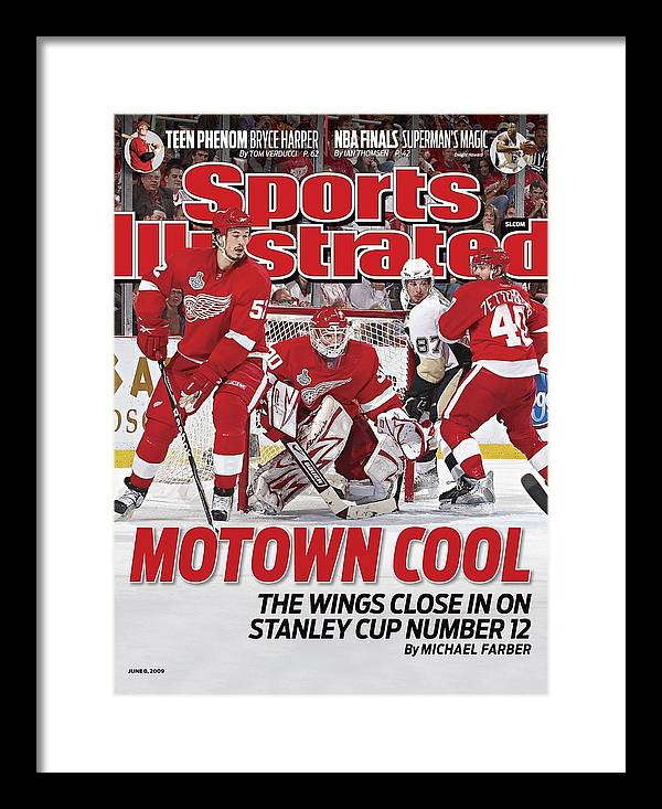 Magazine Cover Framed Print featuring the photograph Detroit Red Wings Goalie Chris Osgood, 2009 Nhl Stanley Cup Sports Illustrated Cover by Sports Illustrated