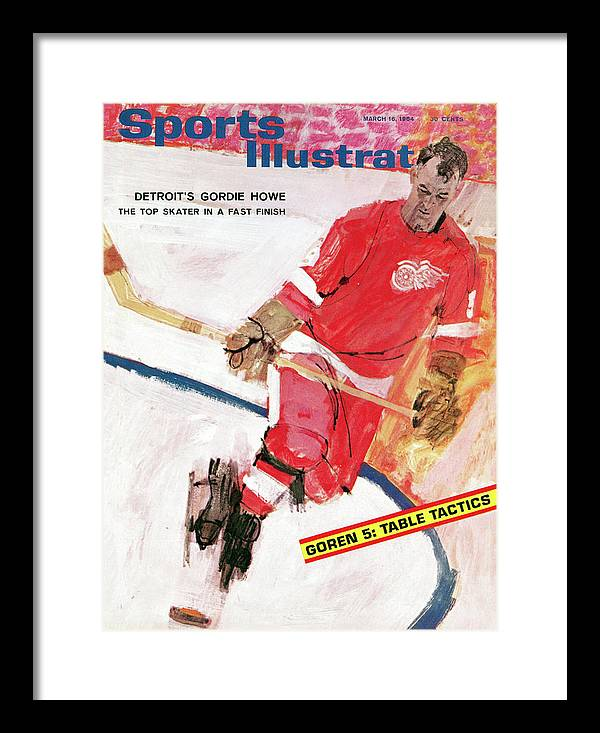 Magazine Cover Framed Print featuring the photograph Detroit Red Wings Gordie Howe Sports Illustrated Cover by Sports Illustrated