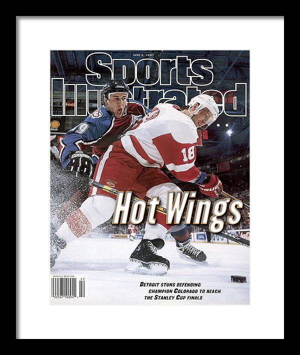 Playoffs Framed Print featuring the photograph Detroit Red Wings Kirk Maltby, 1997 Nhl Western Conference Sports Illustrated Cover by Sports Illustrated