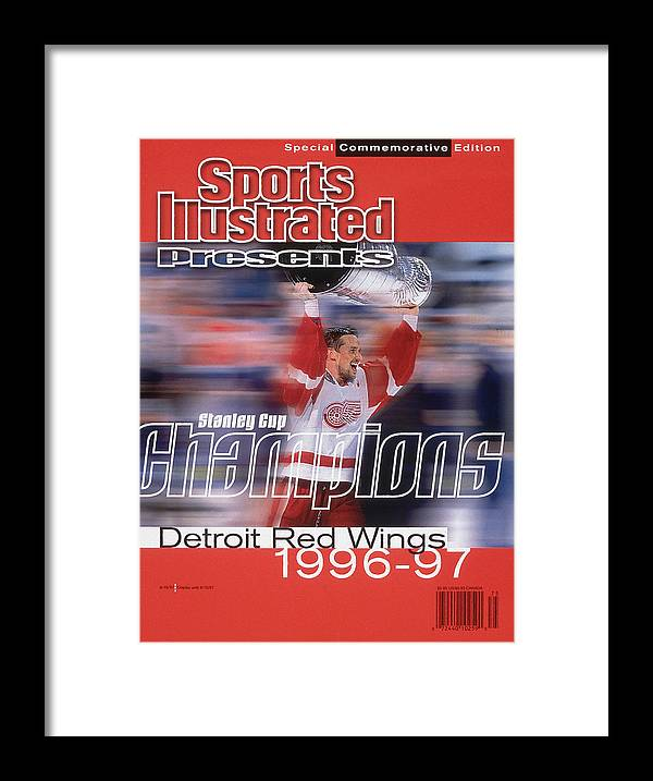 National Hockey League Framed Print featuring the photograph Detroit Red Wings Steve Yzerman, 1997 Nhl Stanley Cup Sports Illustrated Cover by Sports Illustrated