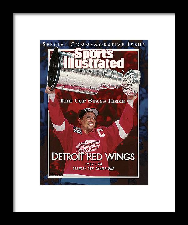 National Hockey League Framed Print featuring the photograph Detroit Red Wings Steve Yzerman, 1998 Nhl Finals Sports Illustrated Cover by Sports Illustrated
