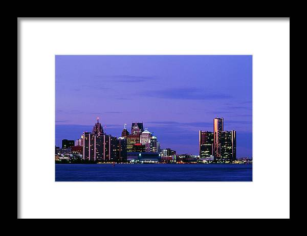 Downtown District Framed Print featuring the photograph Detroit Skyline At Night In Usa by Design Pics